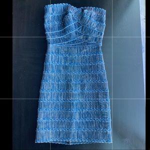 Bandage Dress - dark blue denim style
